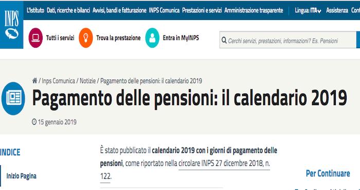 Calendario Pagamento Pensioni Inps.Pensioni 2019 Quando Verranno Erogate Il Calendario Dell