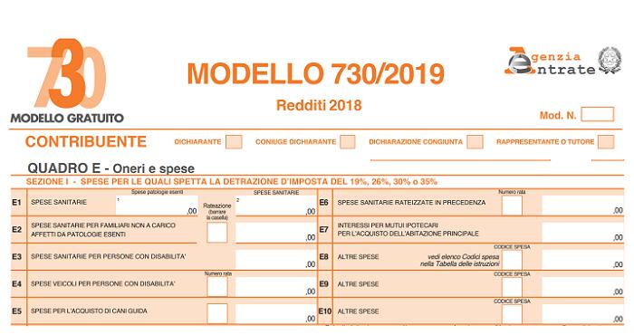 LE SPESE MEDICHE NEL 730 SCARICARE