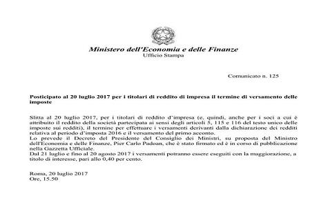 Proroga ufficiale per i versamenti delle imposte da for Dichiarazione dei redditi 2017