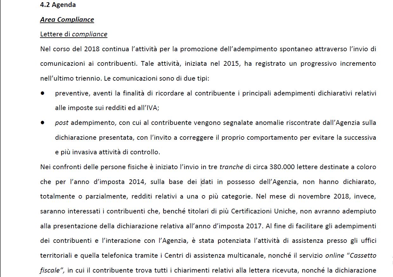 Fisco: in autunno in arrivo migliaia di lettere ai contribuenti
