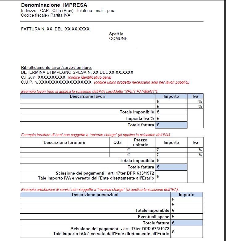 Fattura split payment iva esempio modello fac simile e - Parcella notaio per acquisto seconda casa ...