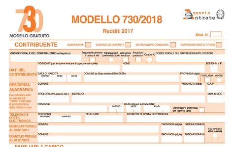Modello 730, pronta la versione 2018 con tante novità