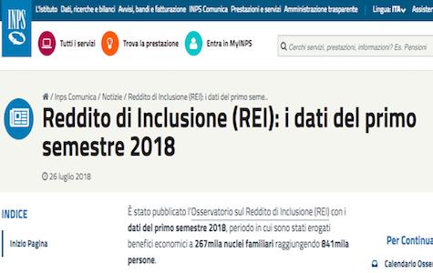Reddito di inclusione: raggiunte 841mila persone nel primo semestre del 2018