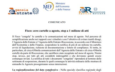 Fisco, cartelle in vacanza ad agosto: bloccato un milione di atti