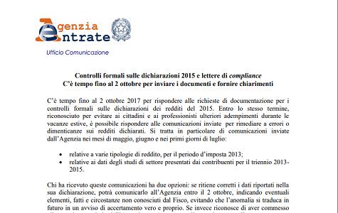 Controlli formali dichiarazioni 2015 e lettere di compliance: più tempo per rispondere