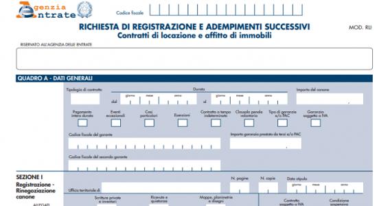 Nuovo modello RLI e istruzioni registrazione e riduzione canone affitto