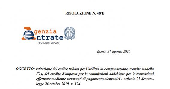 Bonus POS, pubblicato il codice tributo F24 per il credito d'imposta sulle commissioni